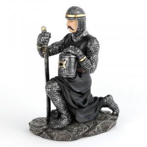 Statueta Cavaler Medieval Îngenunchind 16 cm