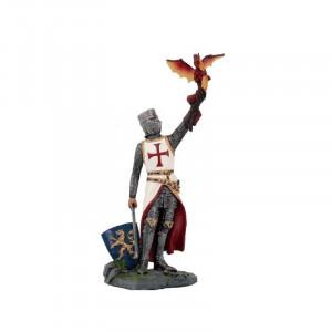 Statueta cavaler Templier cu dragon 20 cm