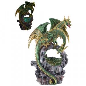 Statueta cu led Dragon cu doua capete 25cm