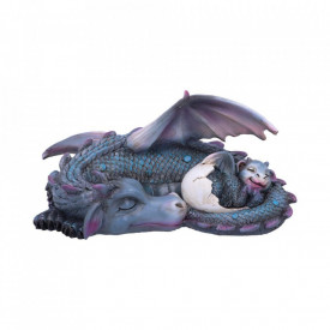 Statueta dragon cu pui Vise placute (albastru) 20 cm