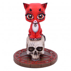 Statueta pisicuta pe craniu Devil Kitty 16 cm - James Ryman