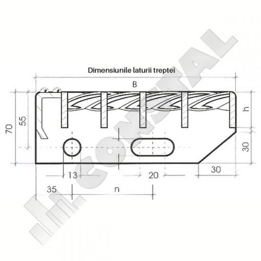 TREAPTA METALICA ZINCATA 30X3 / 1100X270 MM