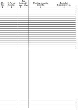 Poze Registru de numerotat fise de consultatie