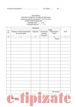 Registru pentru evidenta sumelor speciale