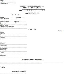 Buletin de analize medicale - examene bacteriologice A6