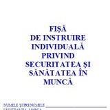 Fise SSM ( Fise de instruire individuala privind securitatea si sanatatea in munca )