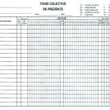 Foaie colectiva de prezenta A4, 100 file