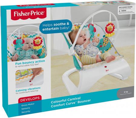Balansoar Fisher Price cu vibratii si bara de jucarii Carnival Comfort Curve