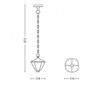 Felinar suspendat gradina Philips myGarden Robin, LED integrat 1x4.5W, IP44, Alb
