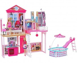 Set Mattel casuta Barbie Wow si piscina - 3 papusi incluse