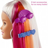 Papusa Barbie cu par curcubeu