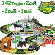 Set flexibil cu masinuta si dinozauri (peste 144 piese)