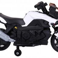 Motocicleta electrica cu 2 roti Premier Rider, 6V, muzica, roti ajutatoare, alba
