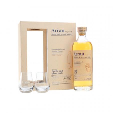 Whisky Arran 10 ani in cutie cadou cu doua pahare, 46 %, 700 ml
