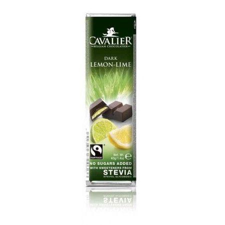 CAVALIER - Baton ciocolata neagra, lamaie si lime - 40g - cu stevia / produs in Belgia