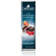 CAVALIER - Baton ciocolata neagra cu crema de capsuni si zmeura, fara zahar adaugat - 40g / produs in Belgia
