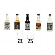 Whisky scotian pachet degustare miniaturi Douglas Laing 5 X 50 ml cu doua pahare Glencairn