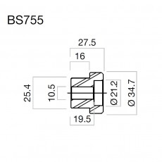 RIZOMA BS755B - Mirror adapter Black