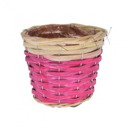 Ghiveci captusit , rotund, nuiele 21 x 17 x 14 cm roz