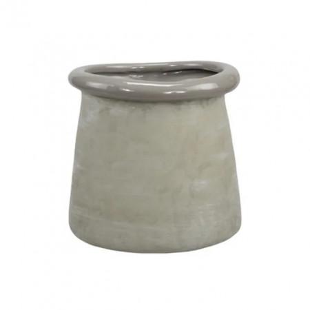 Ghiveci, rotund, ceramica, 16 x 15,5 cm, gri