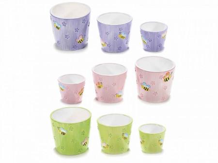 Ghiveci ceramic imprimeu albine Ø 10,5 x 9,5 H