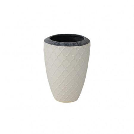 Ghiveci inalt ceramica 15 x 22 cm alb