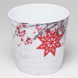 Ghiveci cu stea, ceramica, 14 cm, rosu, alb
