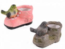 Ghiveci în formă de cizme cu pasăre