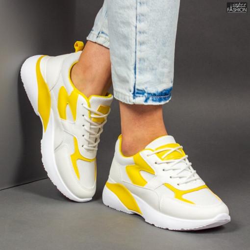 Pantofi Sport ''Mei GB77 White Yellow'' [D15E3