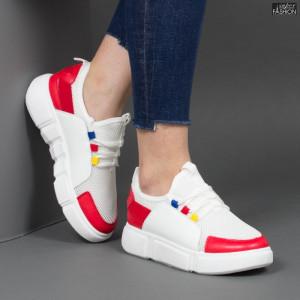 Pantofi sport ''Mei GB73 White Red'' [D16E1]