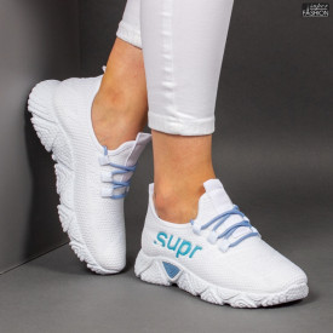 Pantofi Sport ''ALD Fashion HQ-201-230 White W. Blue'' [LD2]
