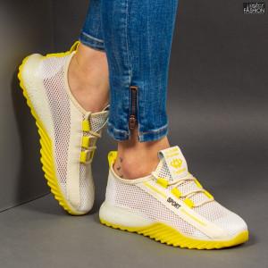 Pantofi Sport ''ABC 1603 White Yellow'' [D20A1]