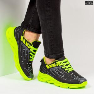 """Pantofi Sport """"ALD Fashion HQ-110-101 Black Green''"""