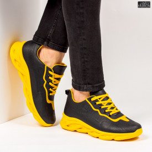 """Pantofi Sport """"ALD Fashion HQ-111-105 Black Yellow''"""