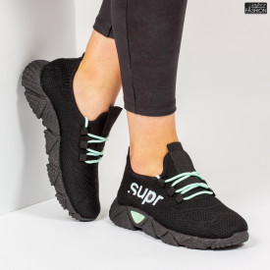 Pantofi Sport ''ALD Fashion HQ-201-226 Black L. Green'' [D5D8]