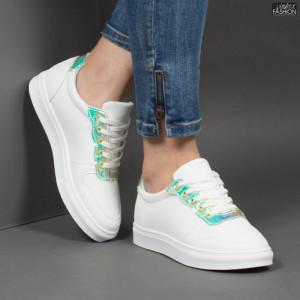Pantofi Sport ''ALD Fashion HQ-F21 White Green'' [D21E2]