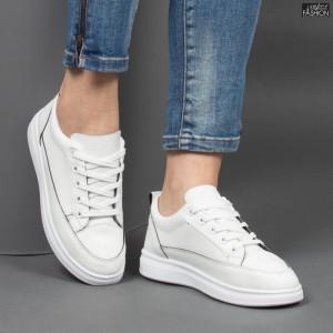 pantofi sport dama albi piele ecologica