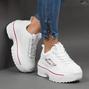 Pantofi sport ''Lavy AB5658 White Red'' [D11F9]