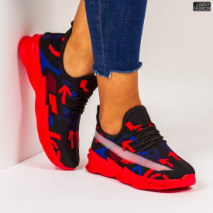 "Pantofi Sport ""Meek B-11 Black Red Blue"""