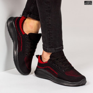 "Pantofi Sport ""WE Fashion 8806 Black Red'' [S15D4]"