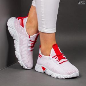 Pantofi Sport ''ALD Fashion HQ-205-252 White Red'' [D18E1]