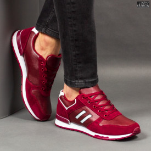 "Pantofi Sport ""Delux Fashion 1811 Burgundy White''"
