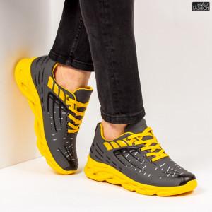 """Pantofi Sport """"ALD Fashion HQ-110-098 D. Grey Yellow''"""
