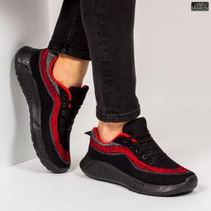 """Pantofi Sport """"WE Fashion 8808 Black Red'' [S14A1]"""