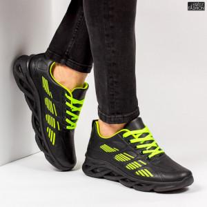 """Pantofi Sport """"ALD Fashion HQ-103-067 Black Green''"""
