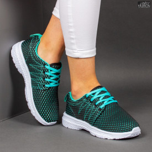 Pantofi Sport ''RED STAR Fashion 665 Black Green'' [D17D1]