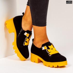 """Pantofi """"Mei ZP1975 Black Yellow"""""""