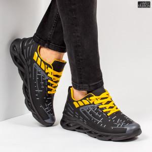"""Pantofi Sport """"ALD Fashion HQ-110-100 Black Yellow''"""