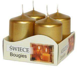 Poze Lumânări stâlp 40x60 mm - culori metalizate auriu