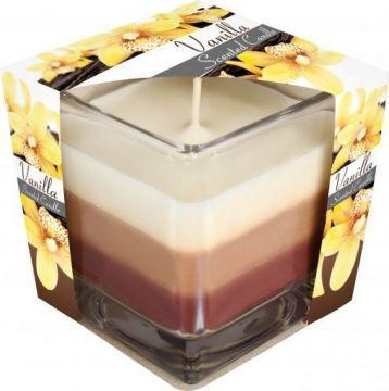 Poze Lumânare parfumată în pahar în trei culori - vanilie